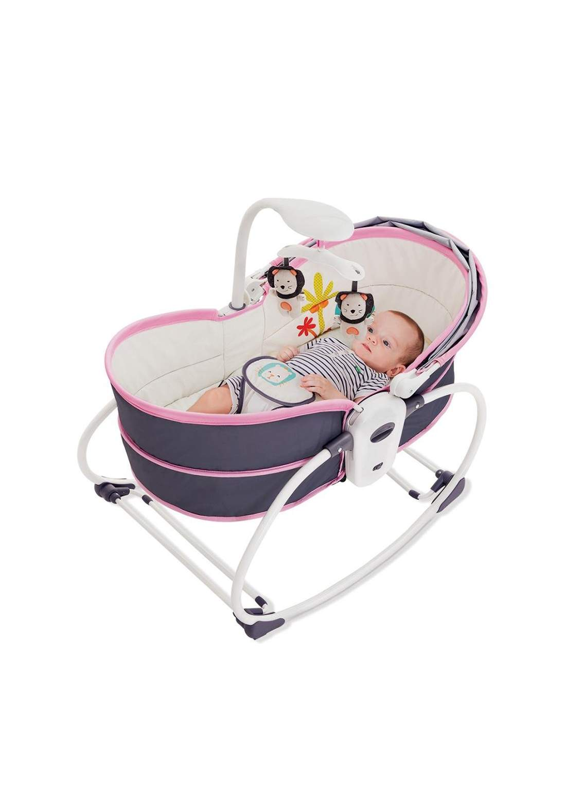Chair Moises 5 In 1 Gray And Pink Mastela  6033 طقم سرير أطفال مهد هزاز