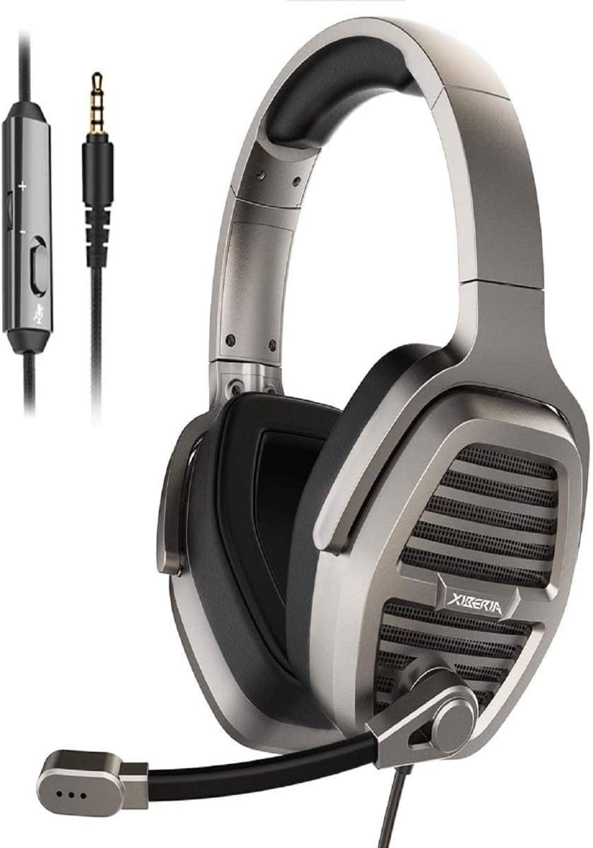 XIBERIA V21 3.5mm Silver Gaming Headset, Over-Ear Stereo Gaming Headphones with Uni-Directional