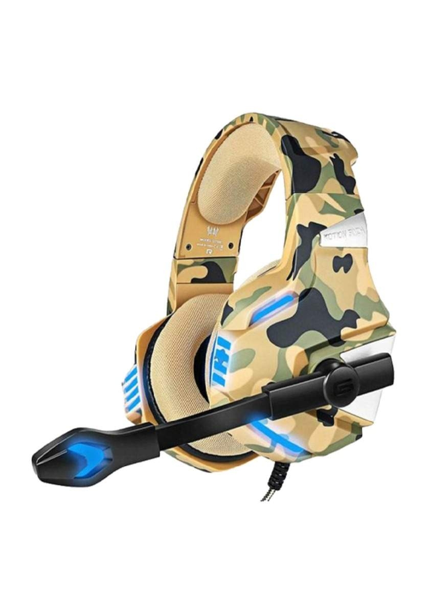 Kotion Each G7500 Gaming Headphone with Mic and LED -Camo Yellow