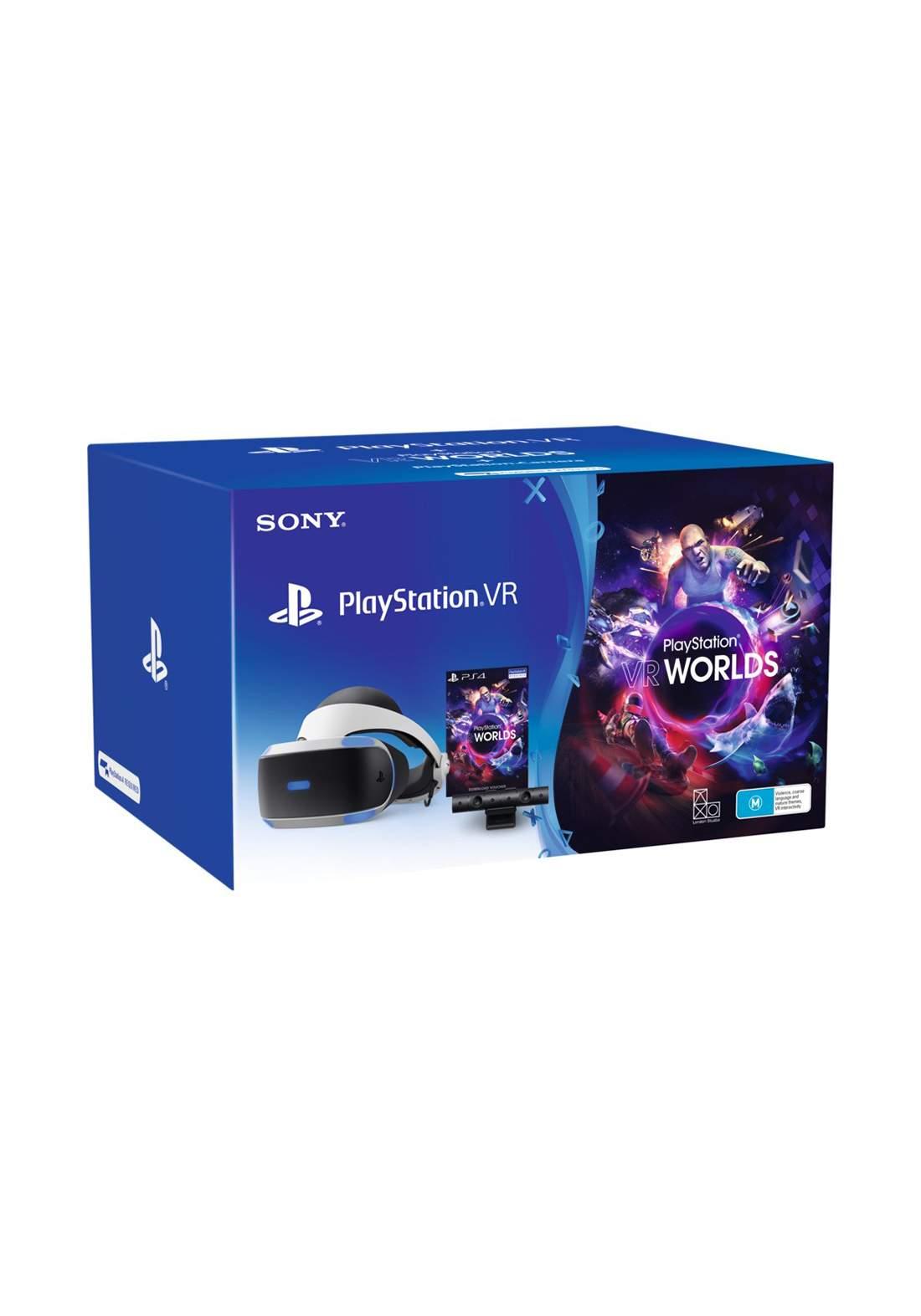 PlayStation VR with Camera & VR Worlds Bundle  حزمة كاميرا مع نظارة واقع افتراضي وسماعة بلي ستيشن
