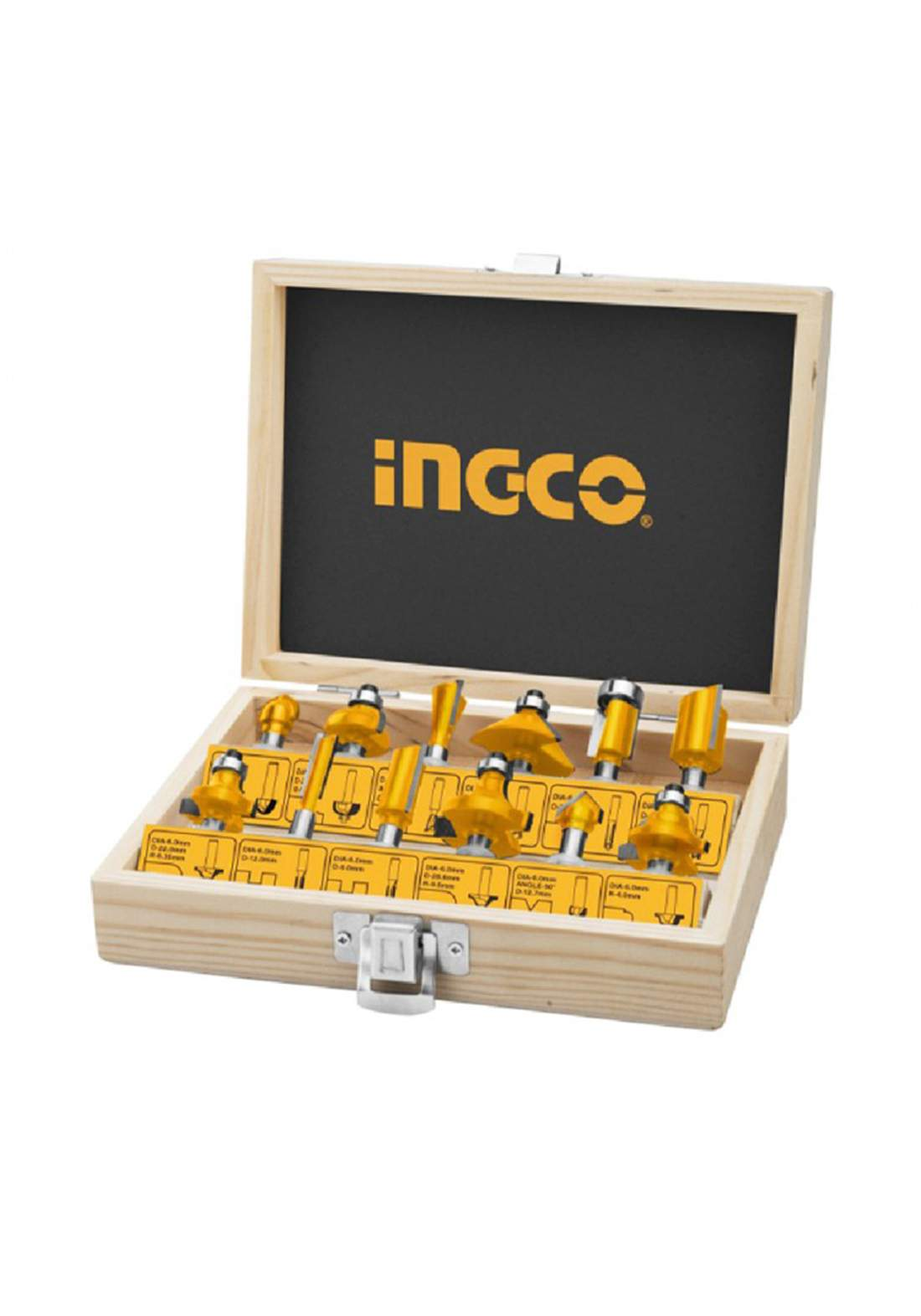 Ingco 12 pieces Router Bits 6mm - AKRT1201 سيت فريزة