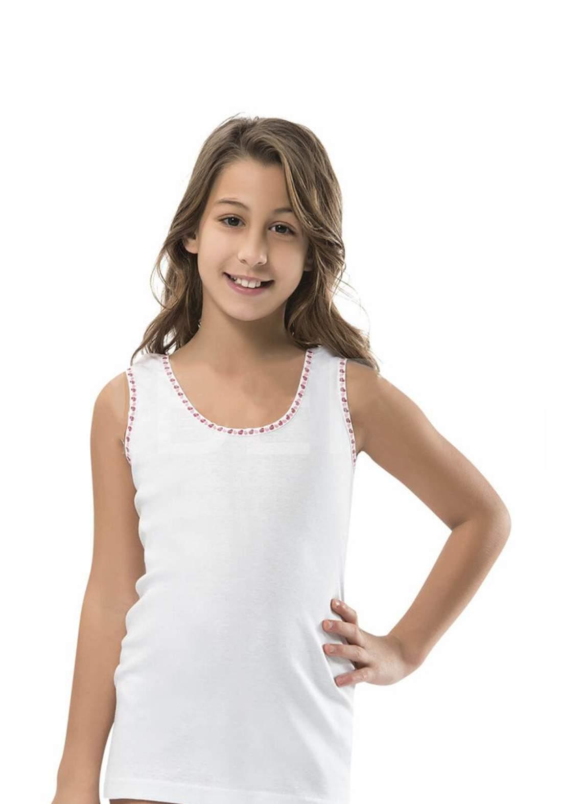 فانيله بناتي بيضاء اللون 801 من جيبر