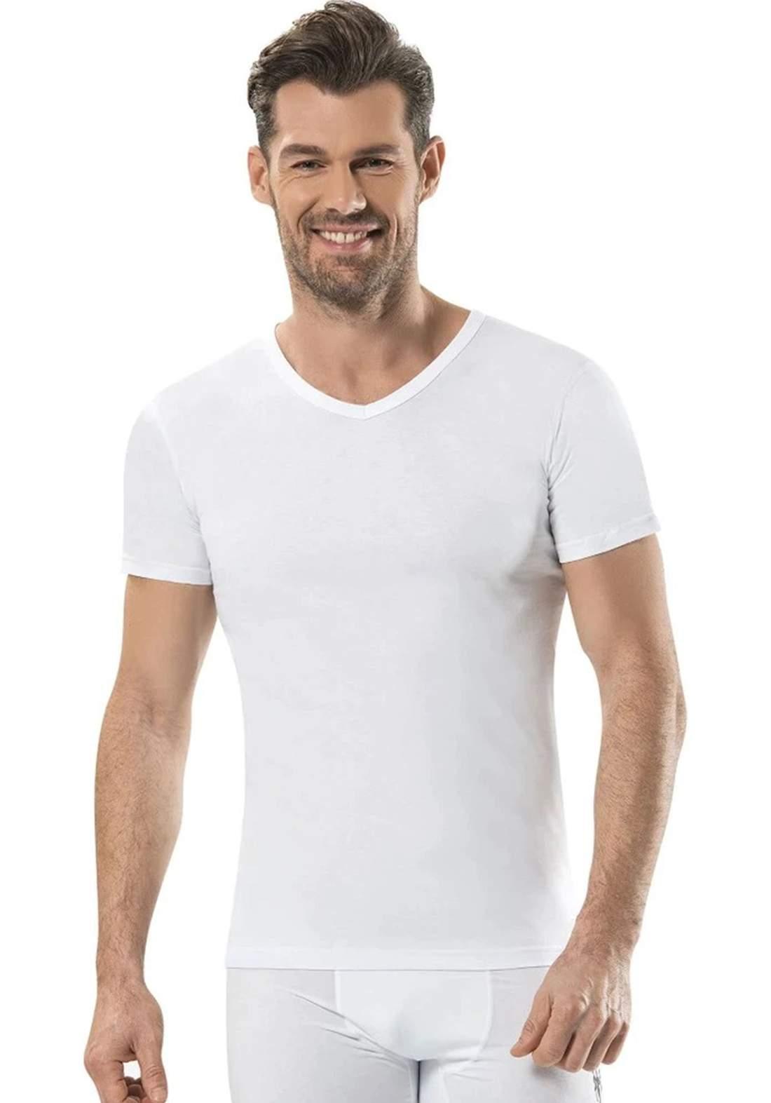 فانيلة داخلية رجالية  نص كم بيضاء اللون من جيبر
