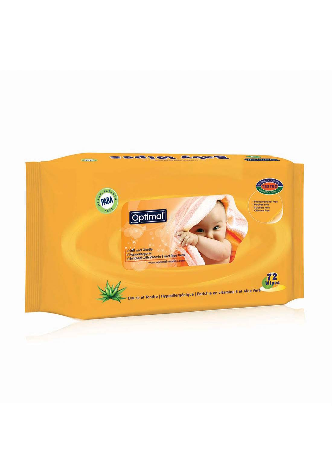 Optimal Vitamin E and Aloe Vera Baby Wipes   72pcs (0-6m)مناديل معطرة للبشرة الحساسة  للاطفال