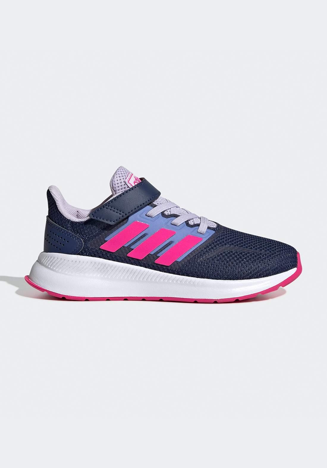 حذاء رياضي بناتي ازرق و وردي اللون من أديداس