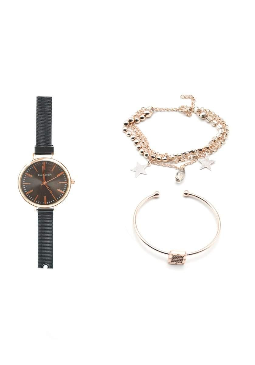 سيت ساعة مع أساور أسود اللون