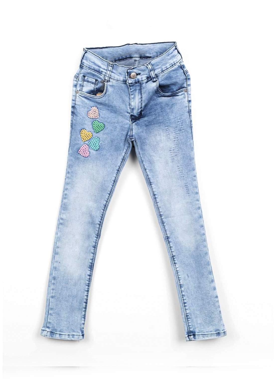بنطلون بناتي جينز ازرق اللون
