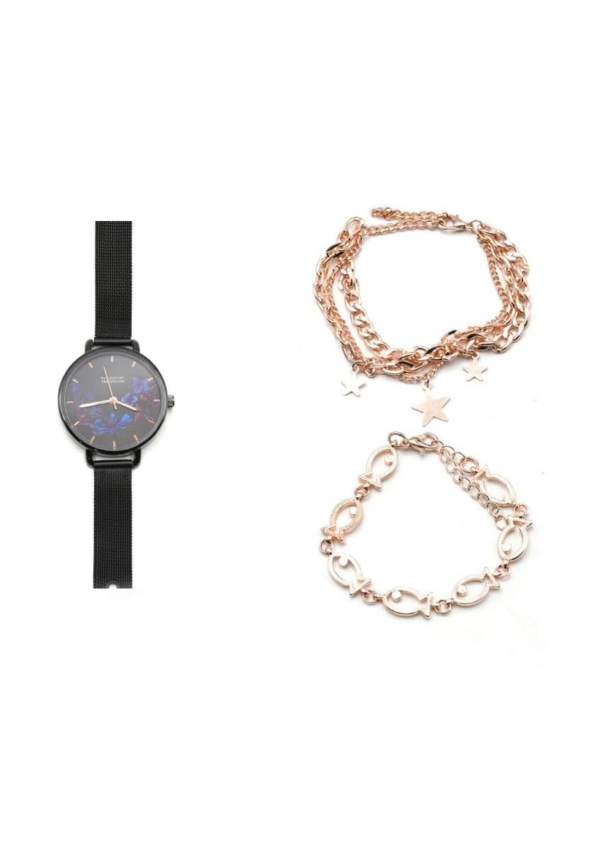 سيت ساعة مع أساور اسود اللون