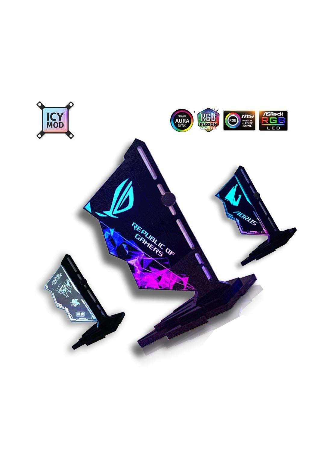 Bracket Vertical Acrylic VGA Holder RGB GPU Video Card Support 12V 4Pin - Black
