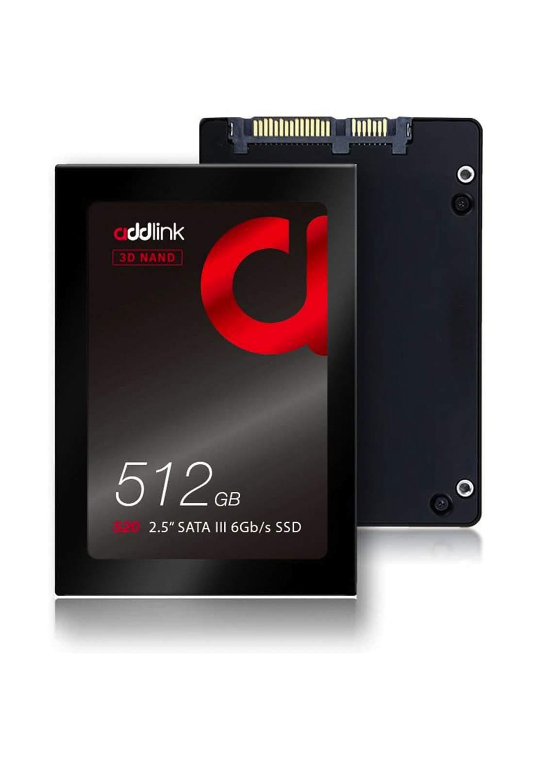 Addlink S20 512GB SSD 2.5 in SATA III 6Gbs 3D NAND Internal Solid State Drive - Black هارد داخلي