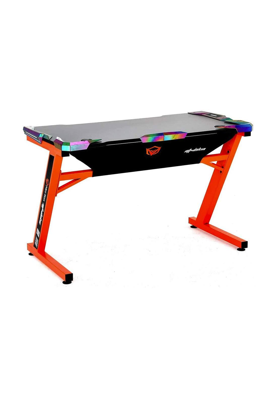 Meetion DSK10 Z Shaped PC Gaming Computer E-Sport Desk - Black and Orange طاولة حاسبة