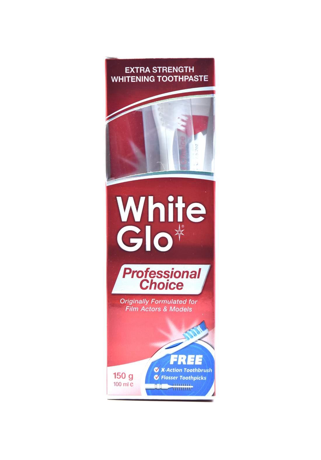 White Glo Professional Choice Formula Toothpaste 150 g معجون اسنان+فرشاة