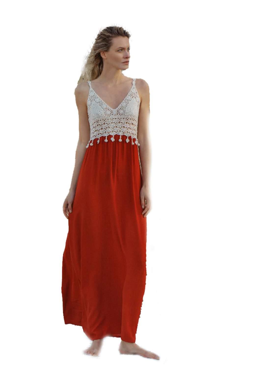 فستان نسائي طويل بدون اكمام