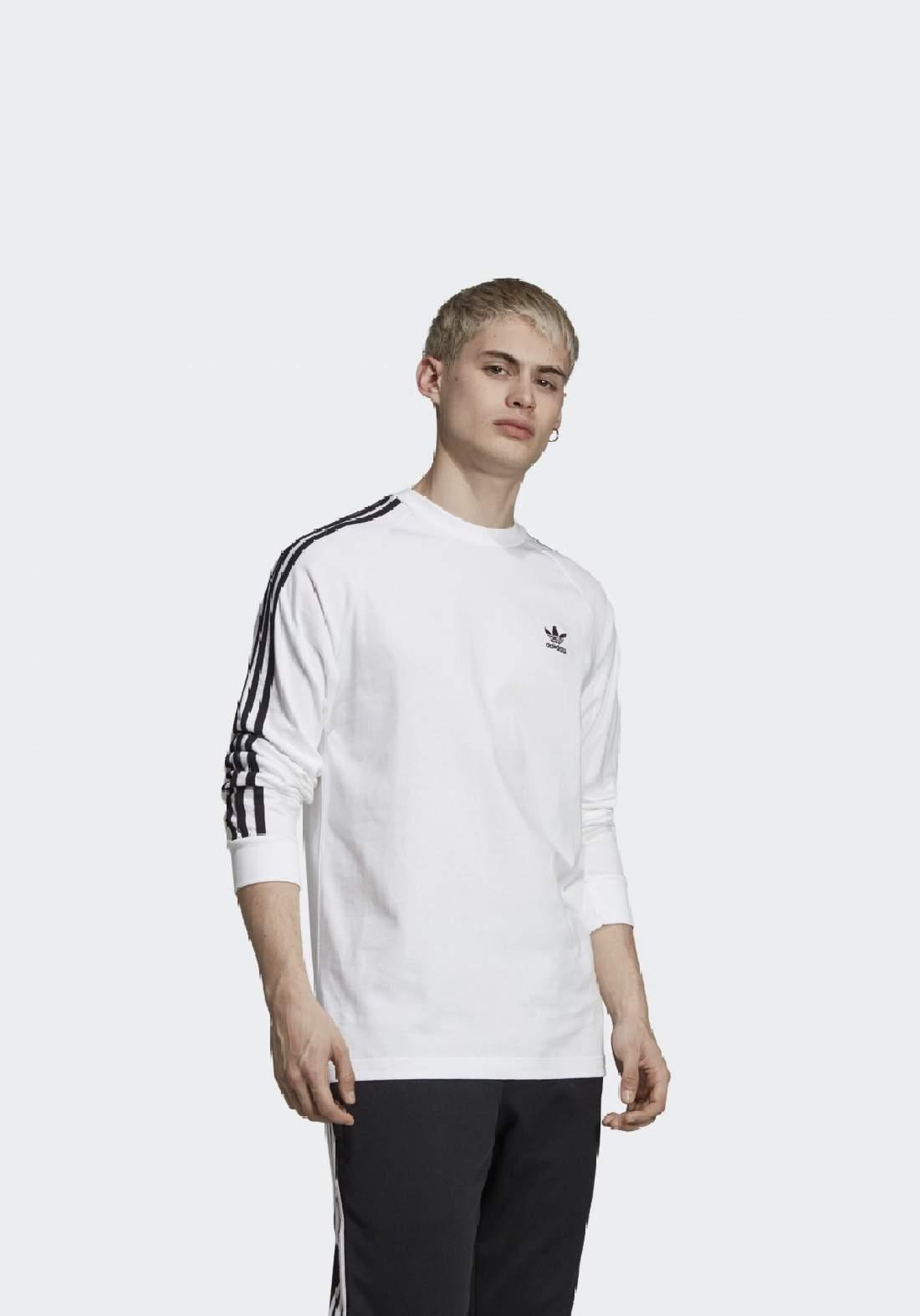 Adidas تيشيرت رجالي رياضي بأكمام طويلة ابيض اللون من