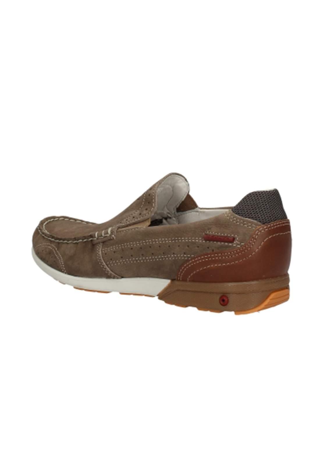 حذاء رجالي بني اللون جلد