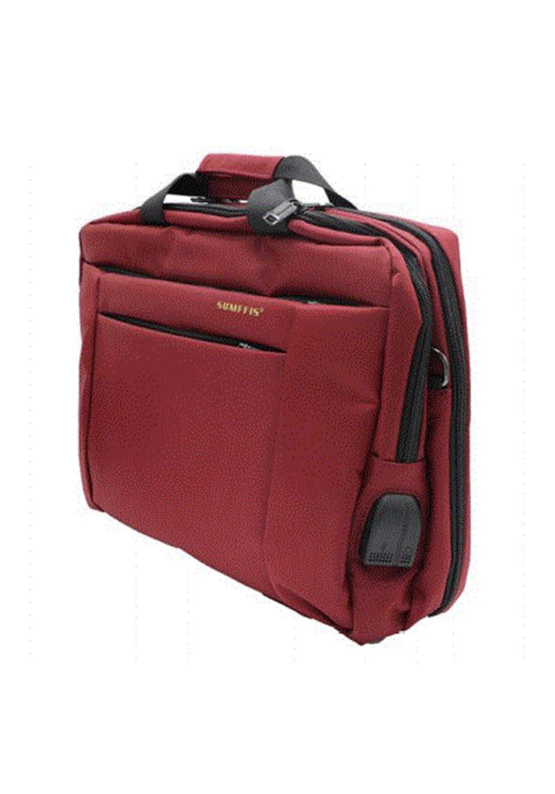 2 in 1  (USB & AUX) and laptop Bag 9160 - Red حقيبة لابتوب