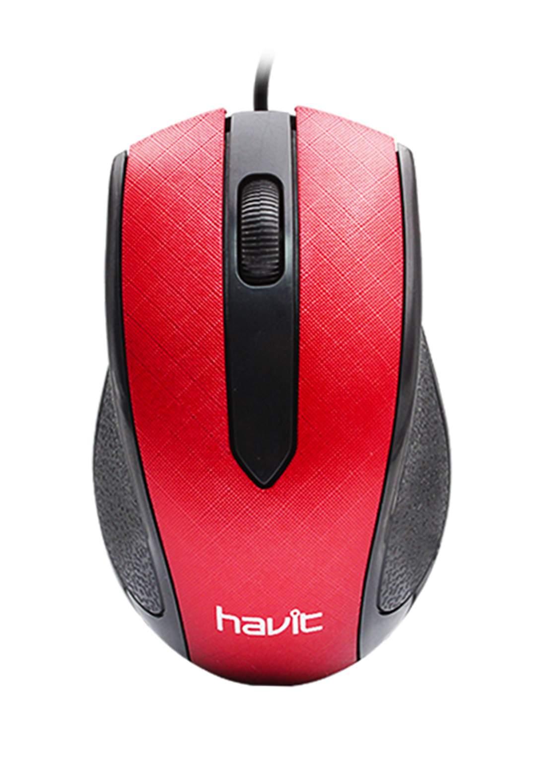 Havit MS80 Optical USB Mouse - Red ماوس