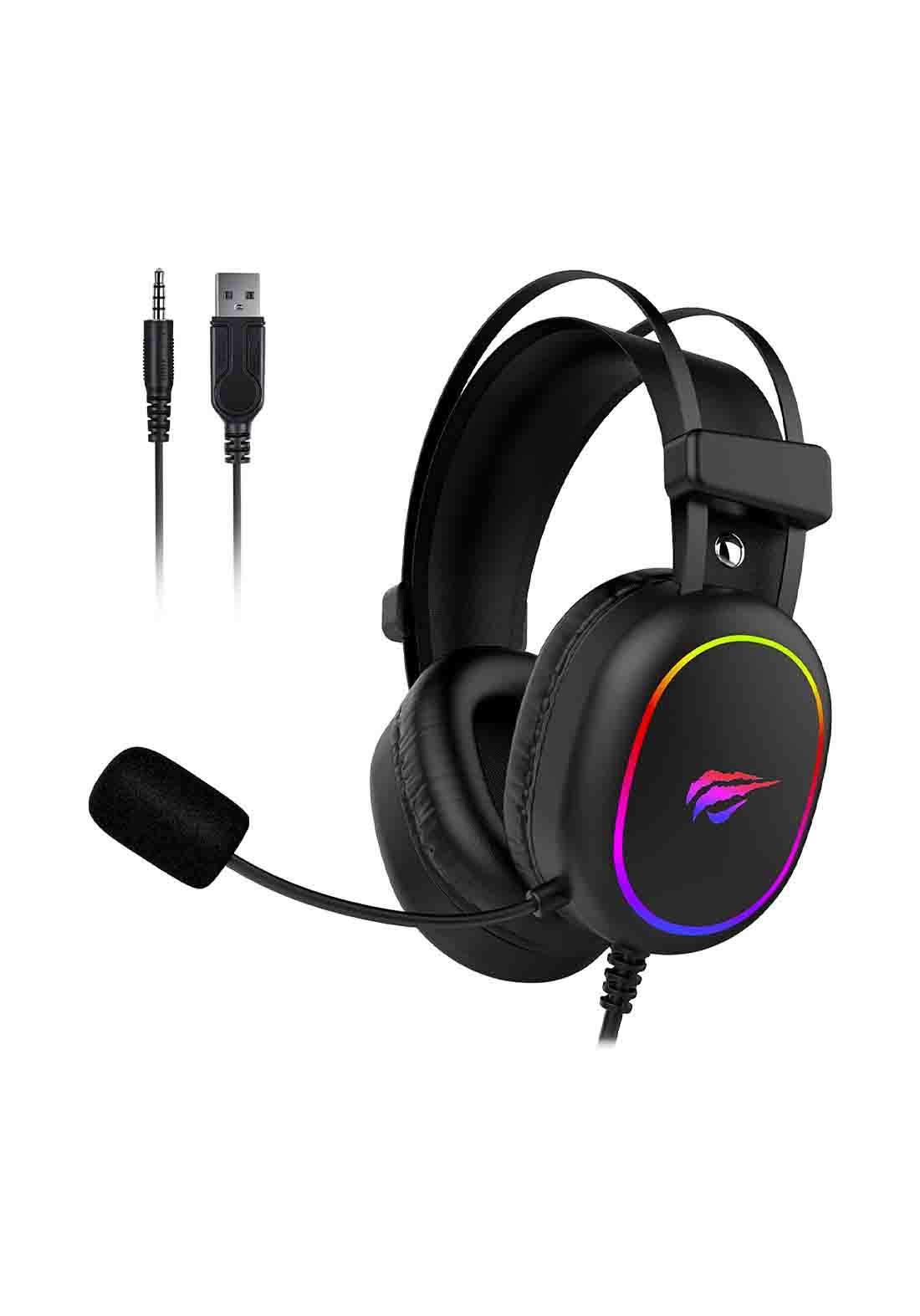 Havit HV-H2016D RGB 3.5MM + USB Gaming Headphone  -  Black  سماعة