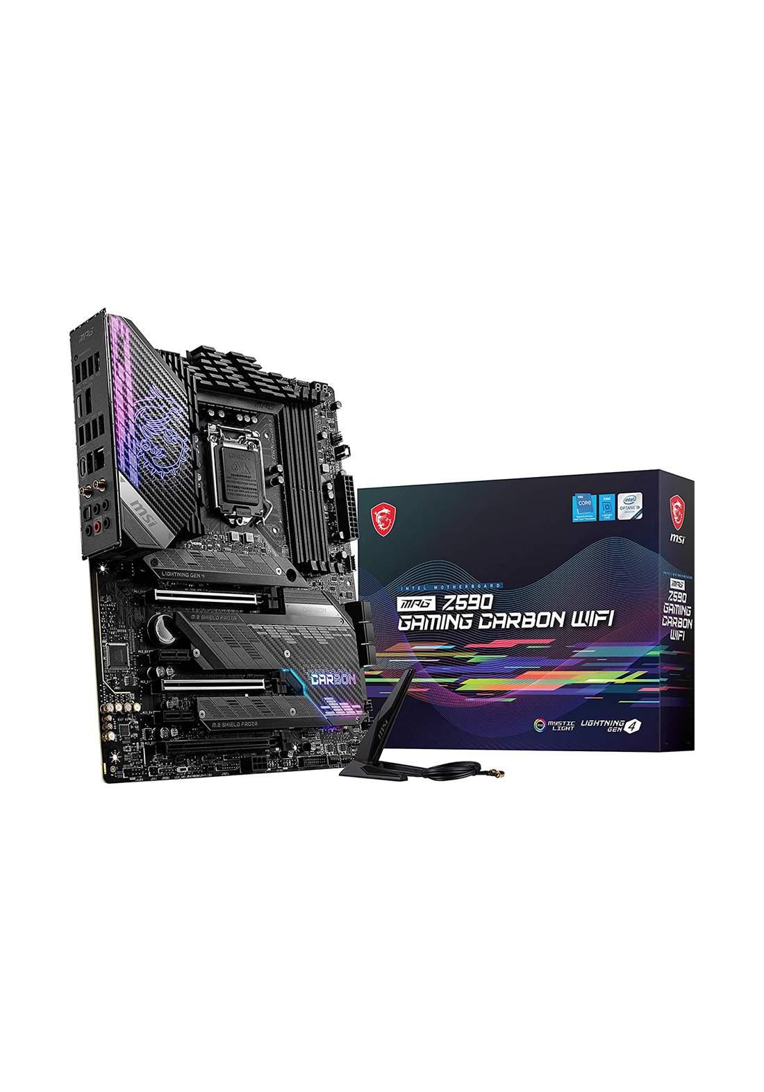 MSI MPG Intel Z590 Gaming Carbon Wifi ATX Motherboard - Black  لوحة الأم