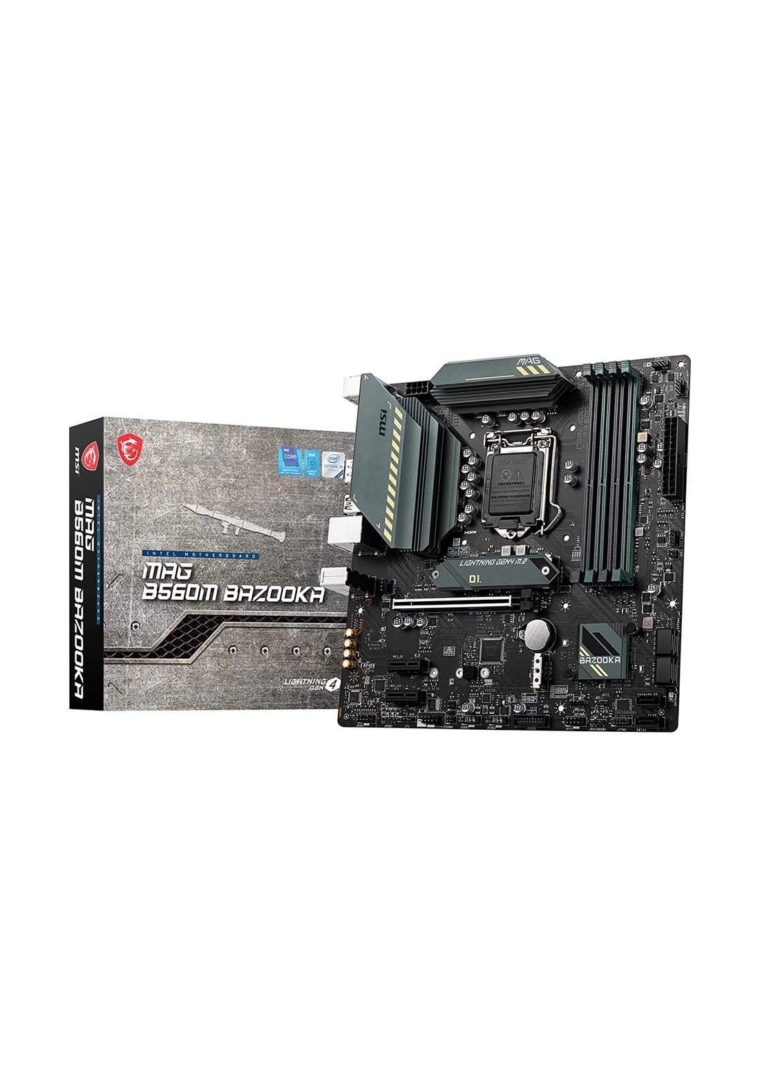 MSI MAG B560M BAZOOKA LGA 1200 Micro-ATX Motherboard - Black  لوحة الأم