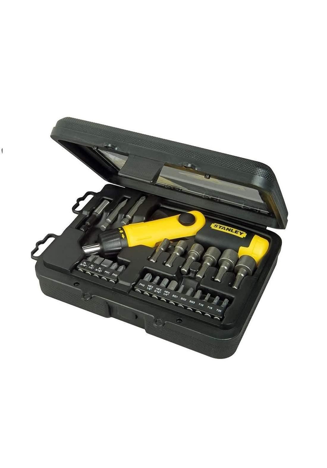 Stanley 0-63-022 Pistol Grip Screwdriver Bag Set 22 Piece سيت رؤوس مفكات مع مقبض