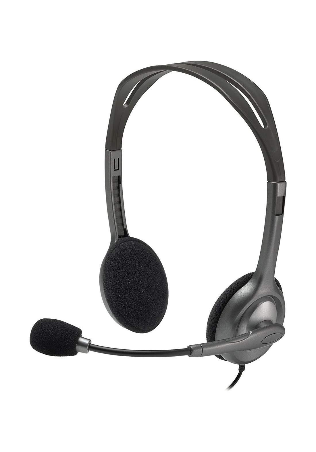 Logitech H111 Stereo Wired Headset - Gray سماعة
