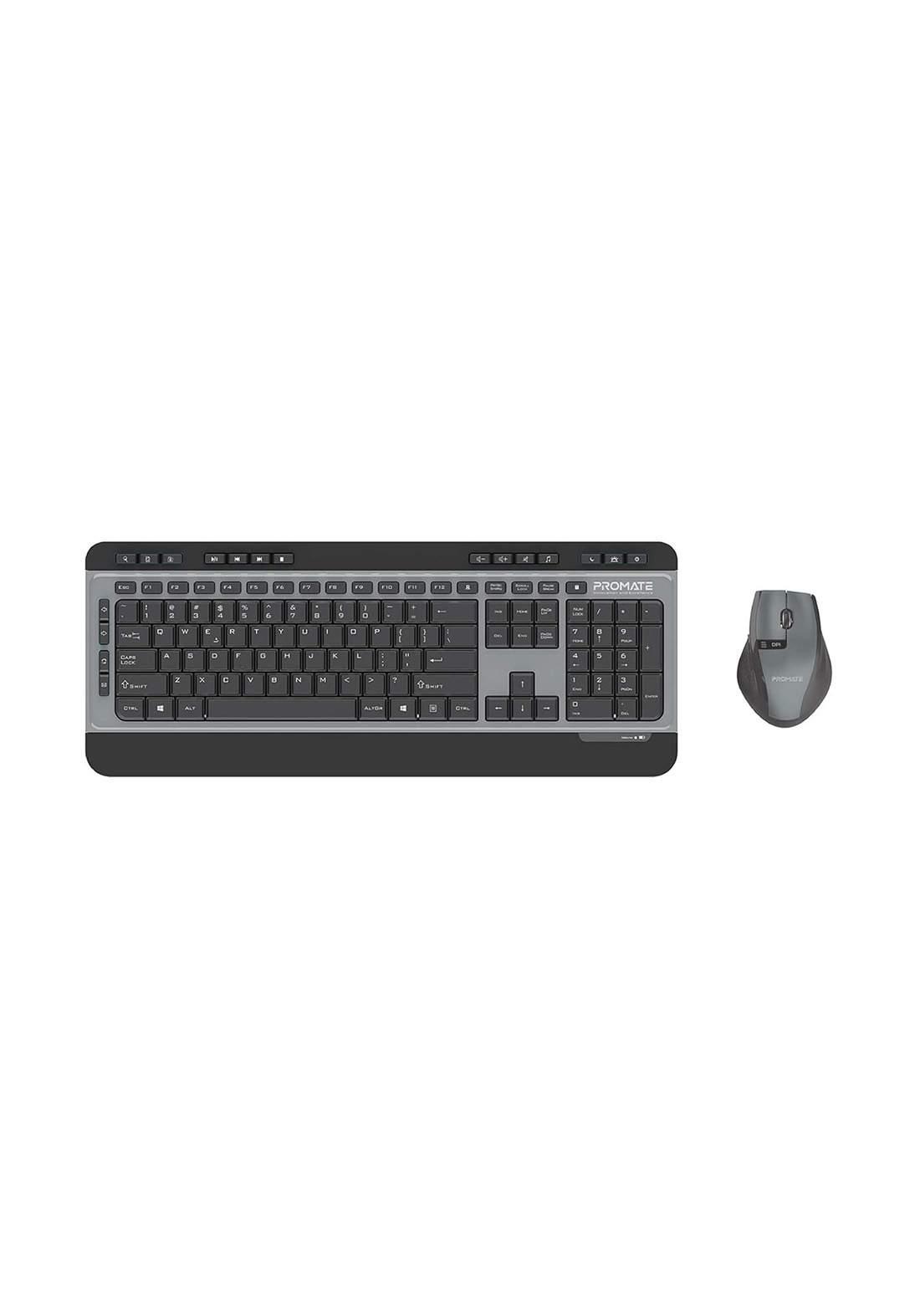 Promate ProCombo-9 Wireless Keyboard and Mouse Combo - Black  لوحة مفاتيح وفارة