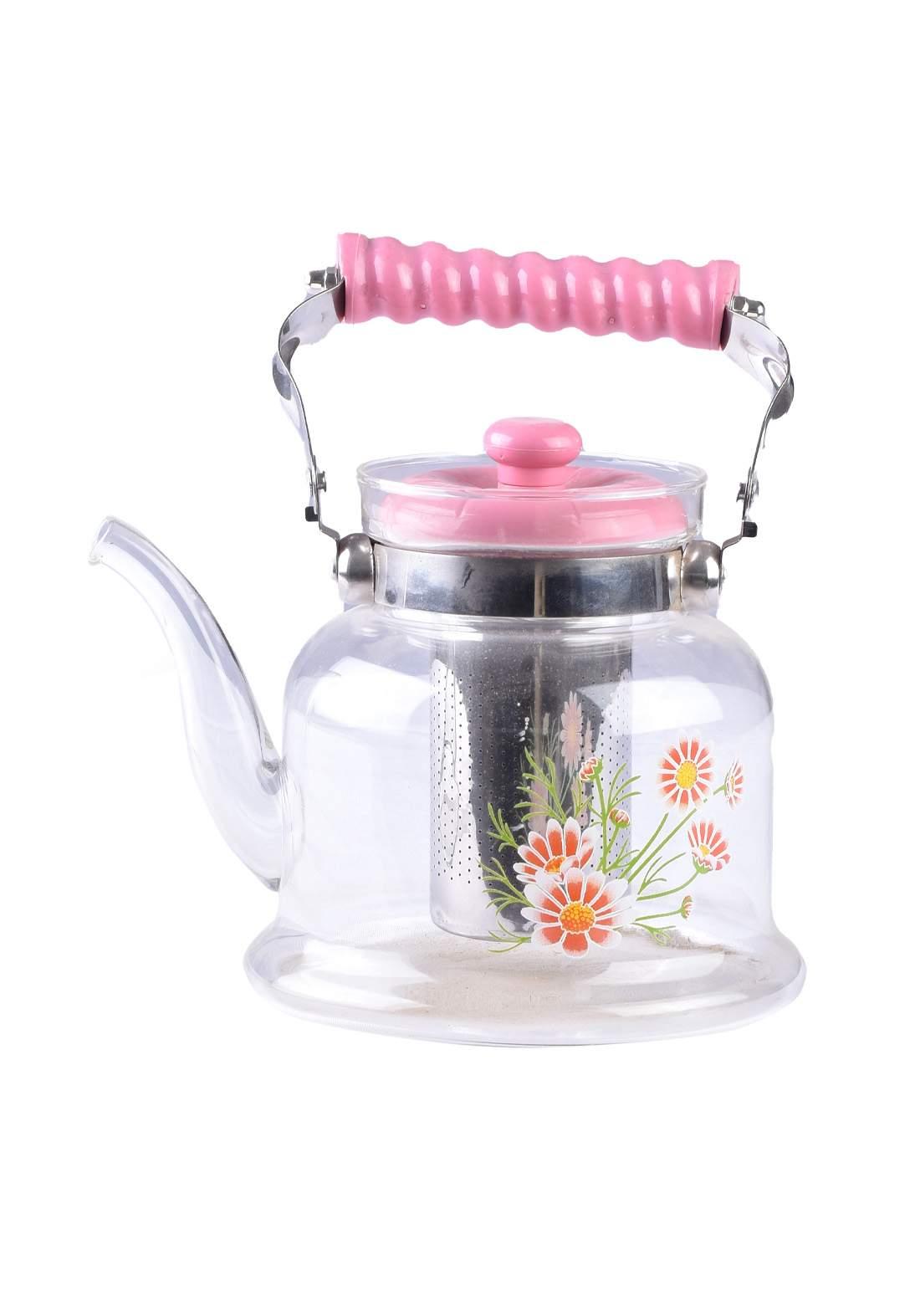 ابريق شاي زجاجي مع مصفي داخلي