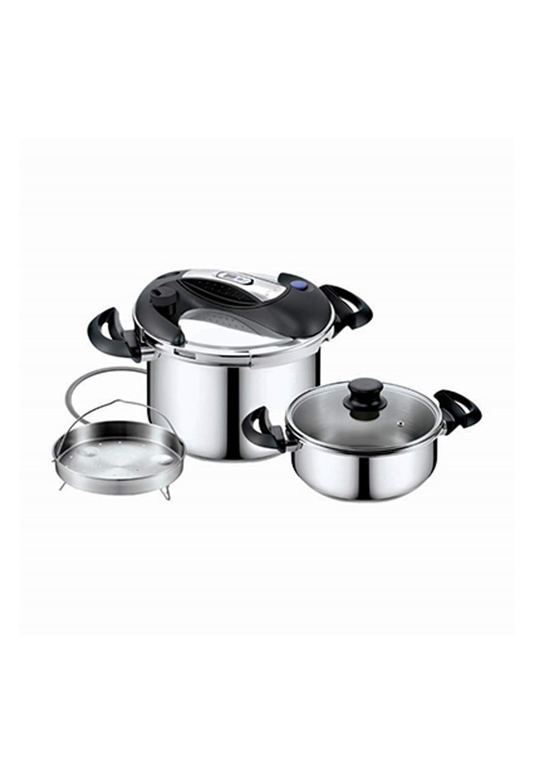 Delmonti  DL 1040 stainless steel Pressure cooker 3 in 1 7L & 5L قدر ضغط