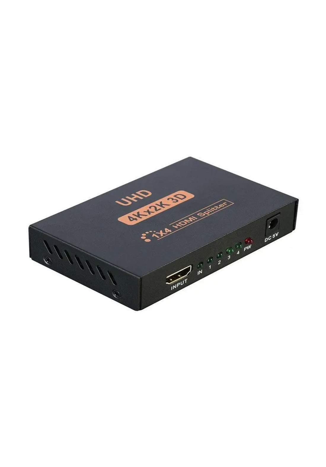 HDMI Splitter 4 Port 1 x 4 Mirror Screen 4K Metal Box - Black