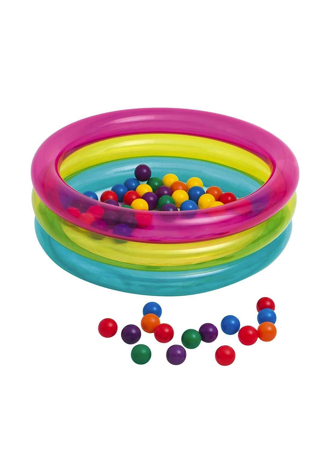 Intex 48674NP Children's 3-Ring Inflatable Baby Ball Pit مسبح مع كرات للعب