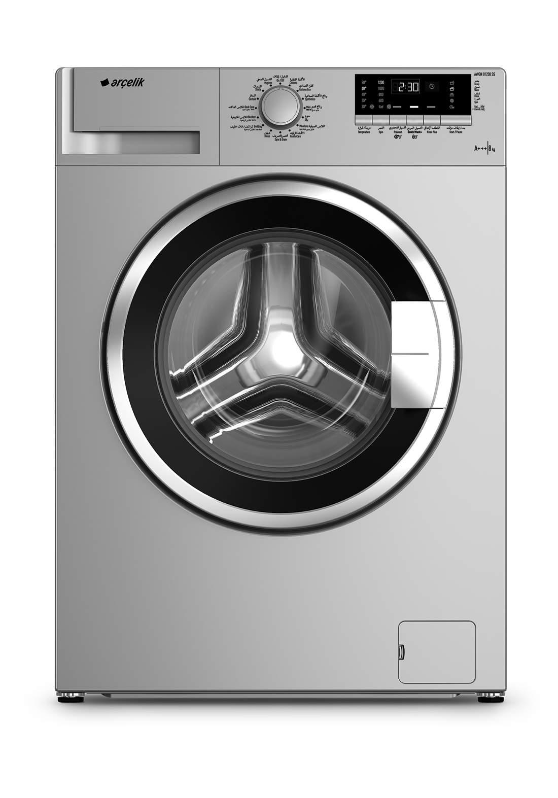 Arcelik AWX 8612 BCS Washing machine 8 kg gray غسالة 8 كيلو