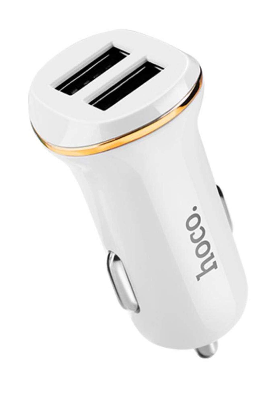 HOCO Z1 Double-ported Car Charger  - White شاحن سيارة
