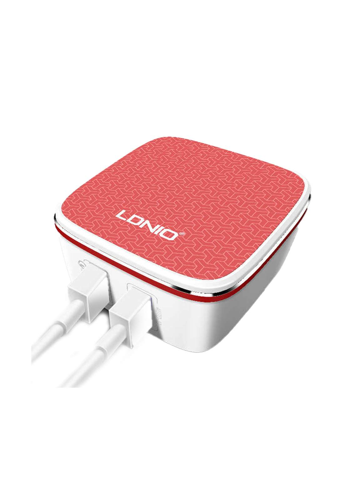 LDNIO Dual USB Port Red Home Charger With One Universal Port And QC 2.0 Port US Plug Data Cable - Red شاحنة