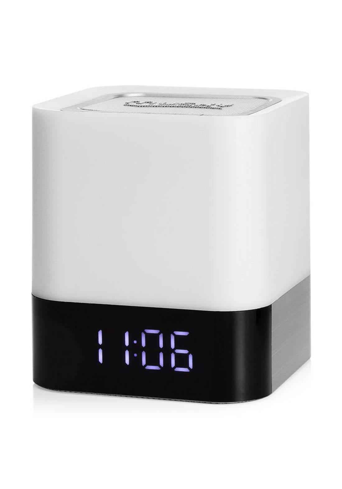 Musky DY28 Alarm Clock Wireless Bluetooth Speaker LED Night Lamp - White   مكبر صوت