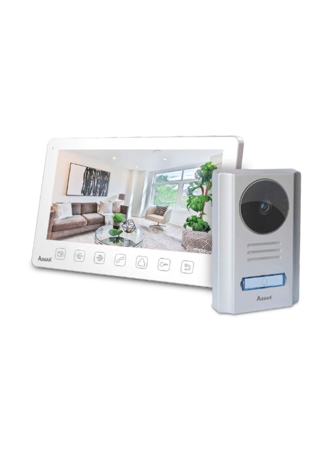 Aswar AS-VDP-40700B Digital LCD Panel Indoor Monitor - Gray كاميرا مراقبة للابواب