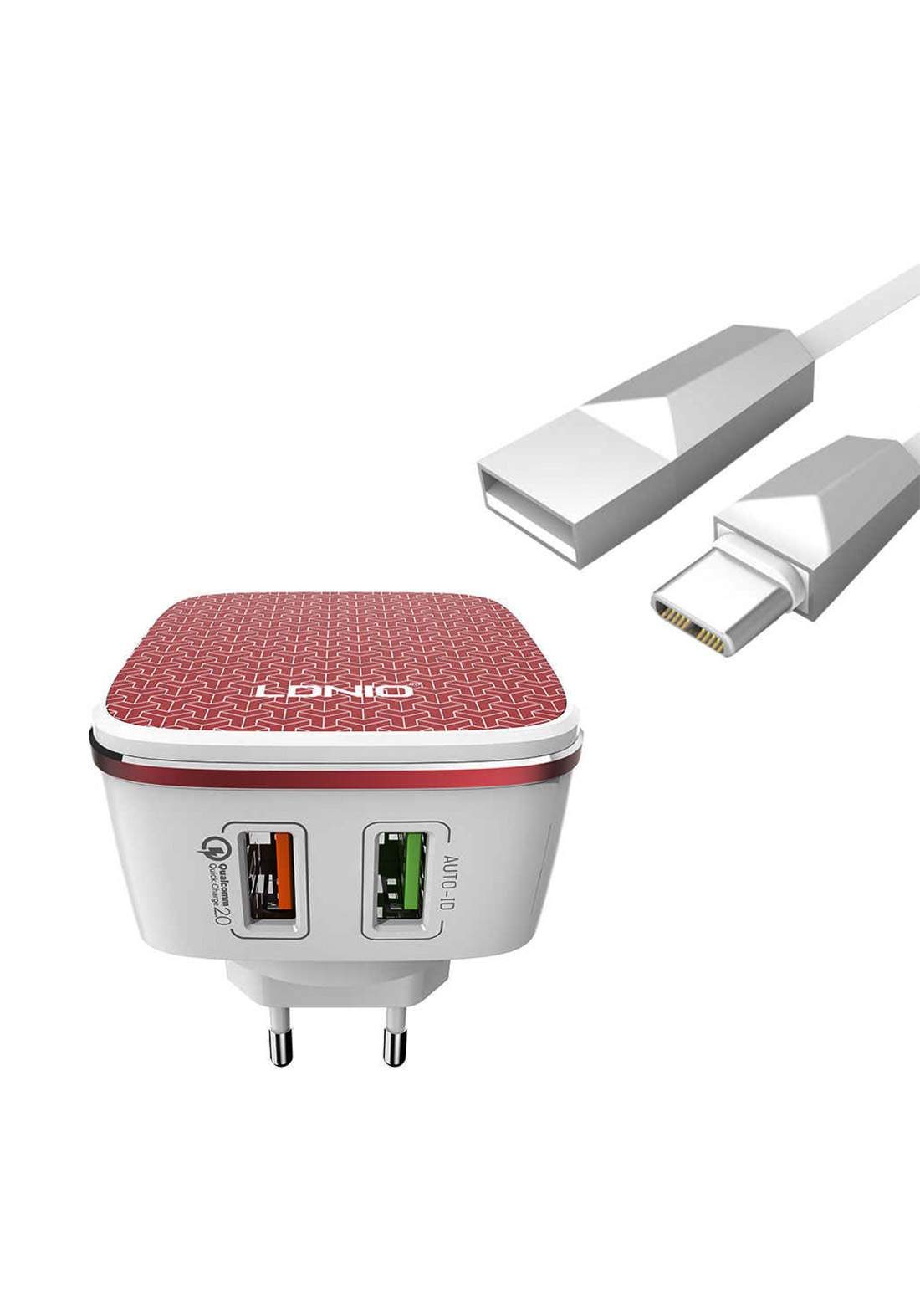 LDNIO A2405Q 2-Port USB Wall Charger and Lightning Cable شاحن