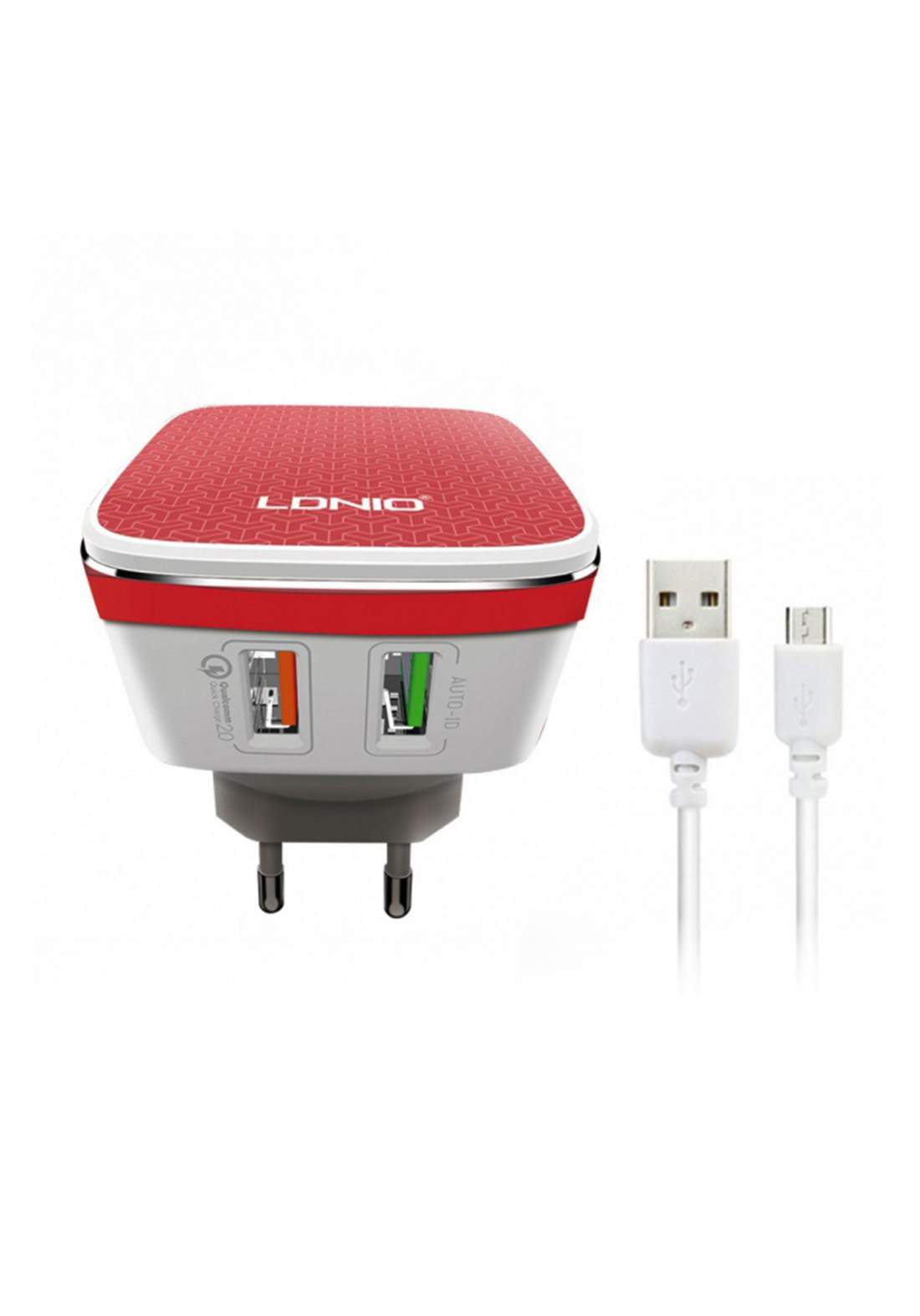 LDNIO A2405Q 2-Port USB Wall Charger and Micro Cable شاحن