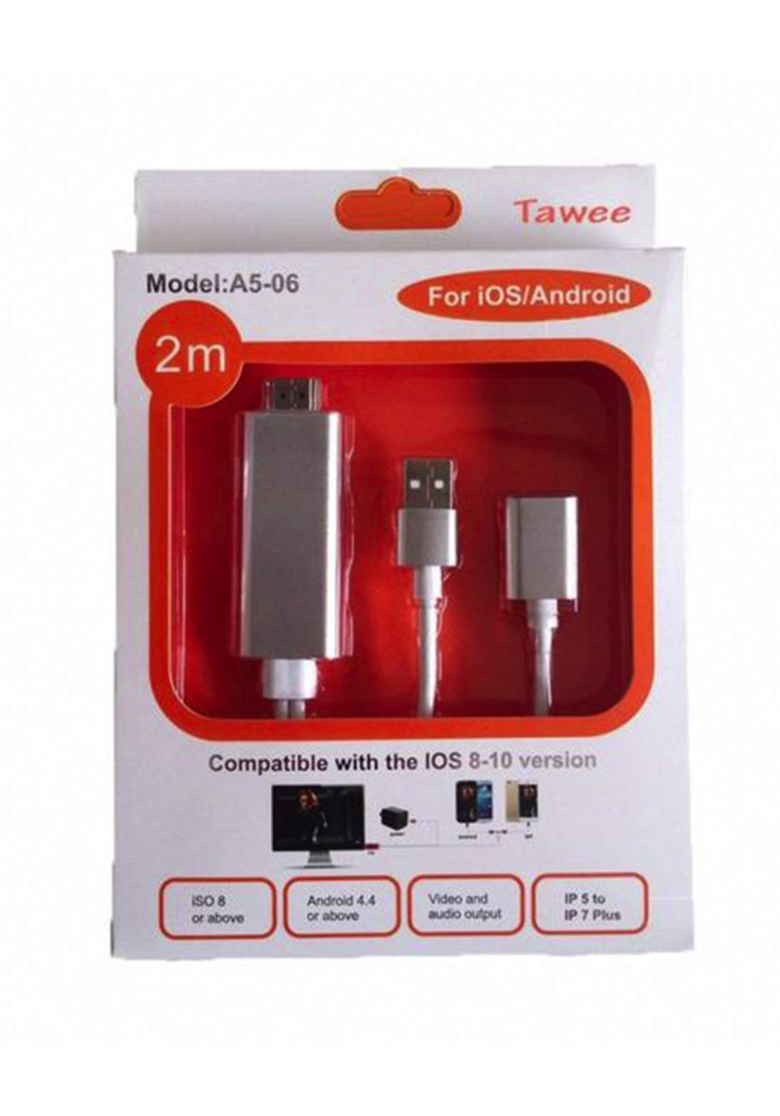 Tawee A5-06 Adpter Mobile For TV 2m - White كابل