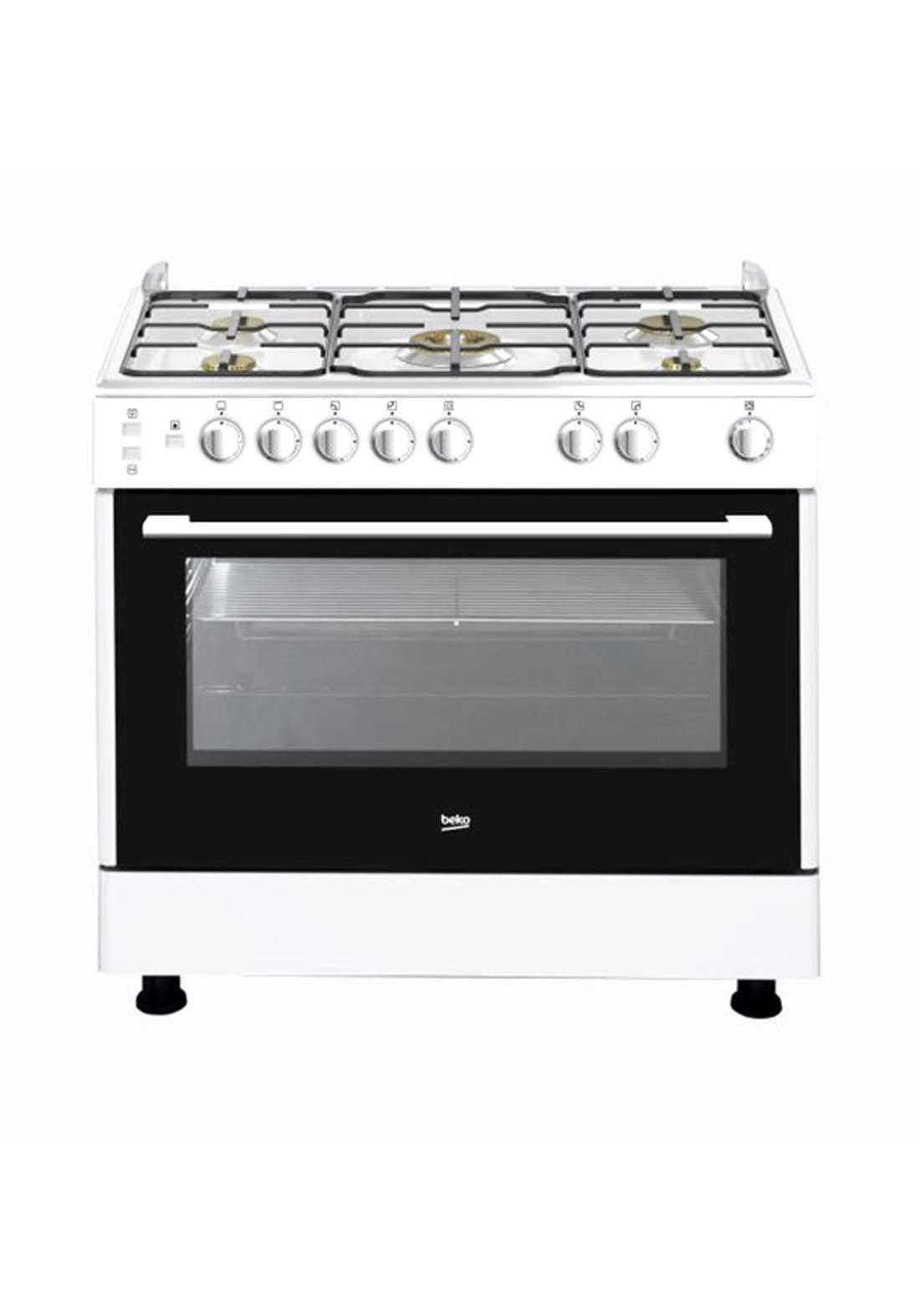 BEKO (GG 15117 CWYV)  5 Burner Gas Cooker - White طباخ