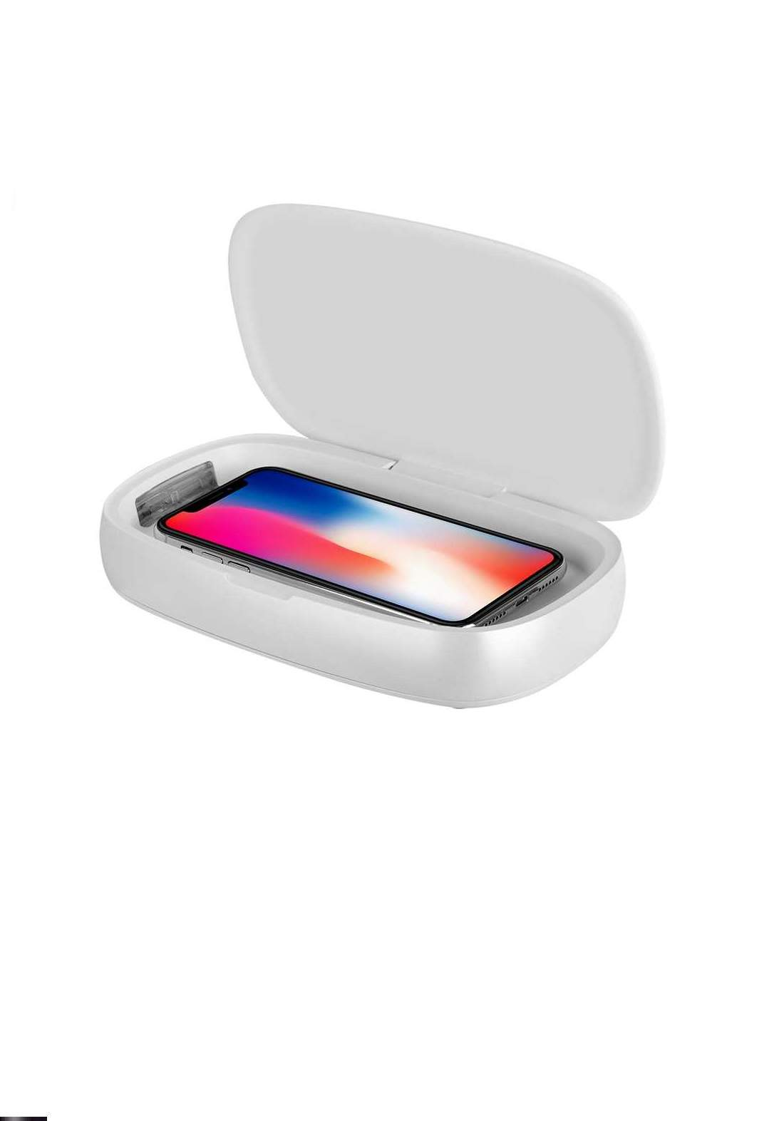 MOMAX QU1W Wireless Charger With  UV Sanitising Box- White (3105)شاحن لاسلكي