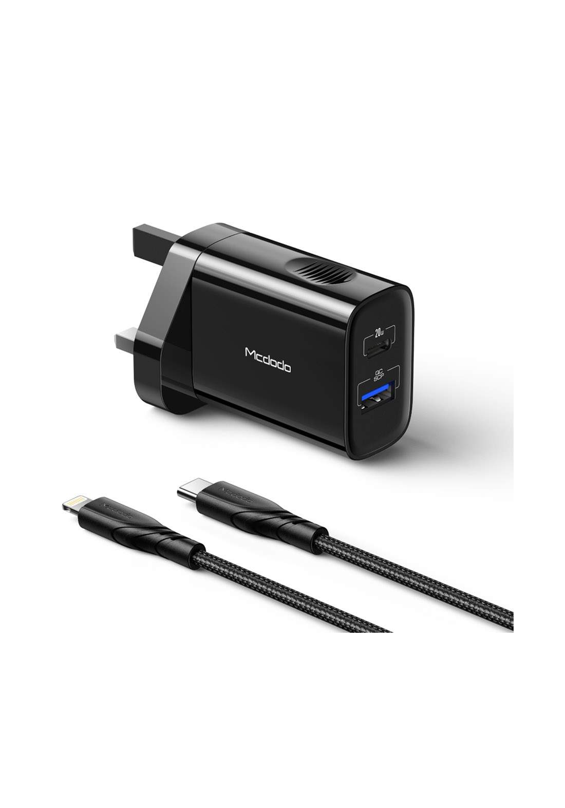 (4303)Mcdodo CH08402 Dual Port PD and QC  Wall Charger with Cable 20W - Black  شاحن