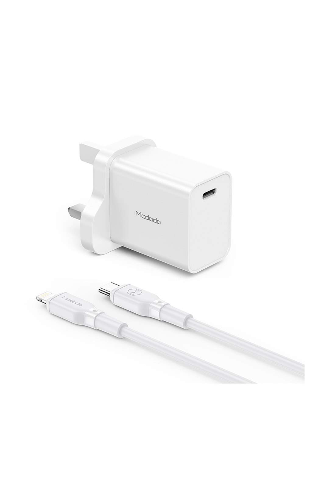 (3828)Mcdodo CH07571 PD Wall Charger with Cable 20W - White شاحن