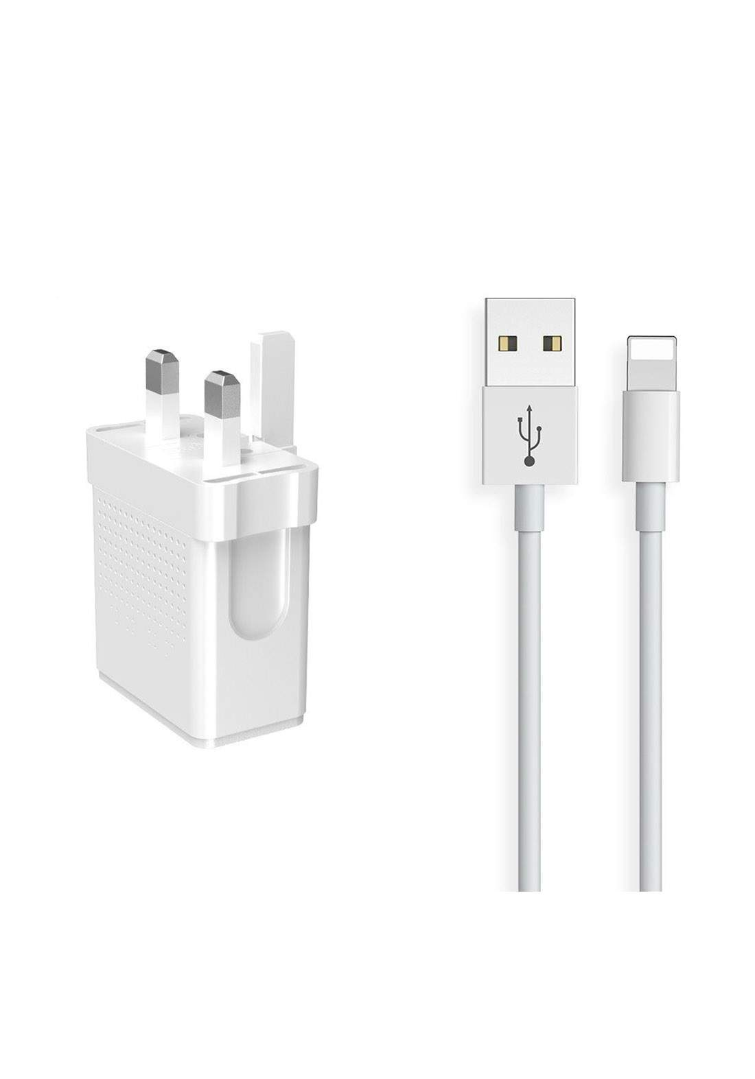 (3580)Mcdodo HCH05720 Dual USB Charger with Lightning Cable 1m - White شاحن