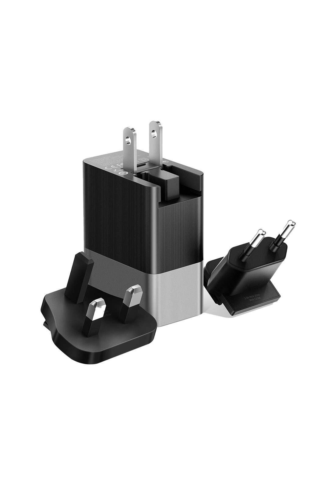 (3500)Mcdodo CH05341 3 in 1 3-USB Ports Replacable Wall Charger (EU/UK/US) Plug - Black  شاحن
