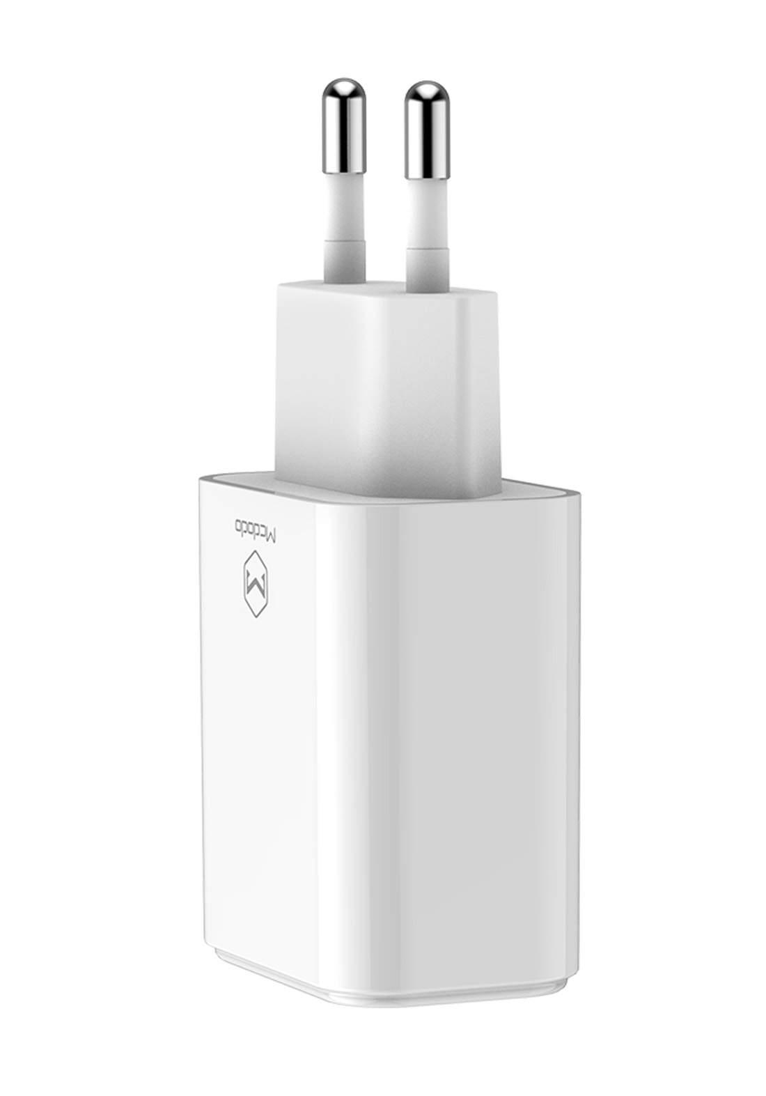 (3503)Mcdodo CH06140 Dual USB Charger EU Plug - White شاحن
