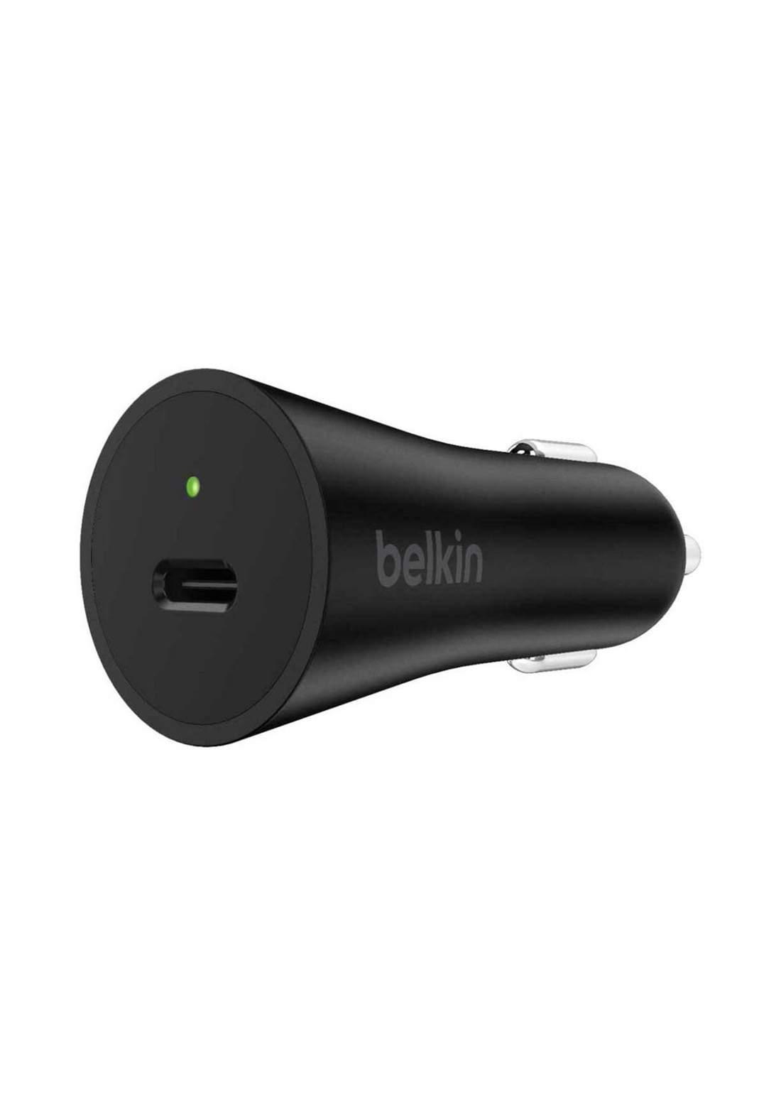 (3201)Belkin F7U071btBLK 27W USB-C Car Charger - Black شاحن موبايل للسيارة