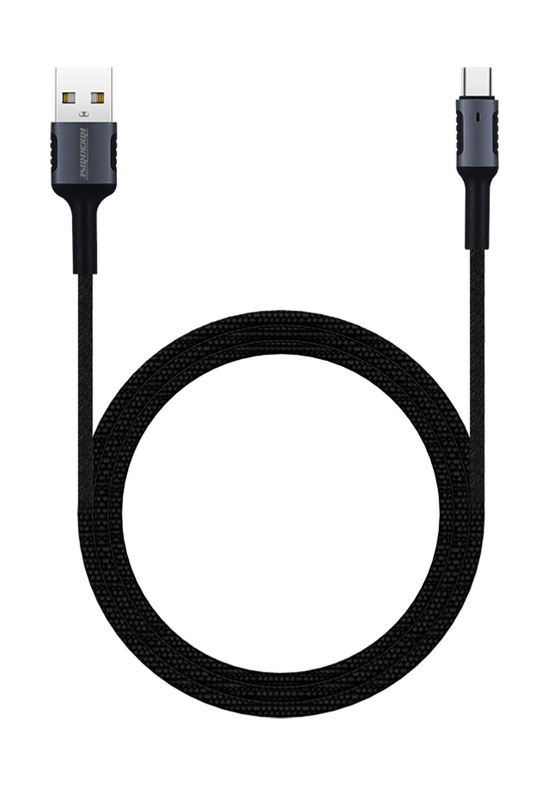 (4130)RockRose RRCS06C USB to USB Type-C Cable 1m - Black كابل