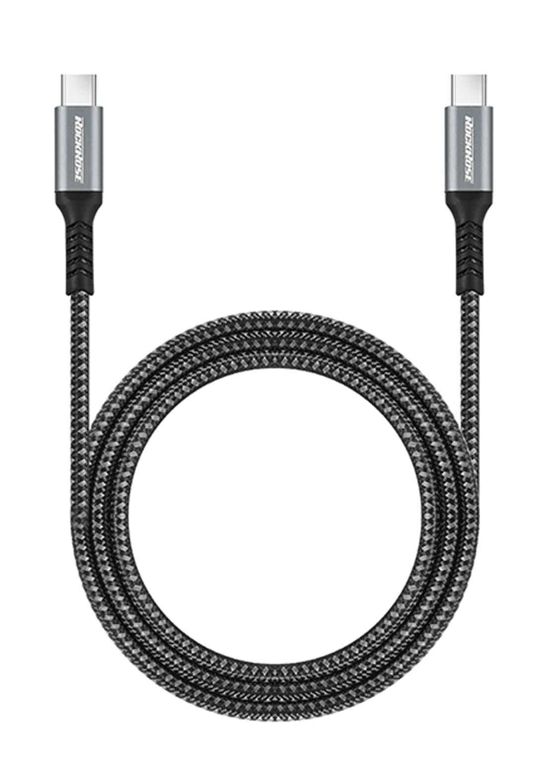 (4025)RockRose RRCS07CC1  USB Type-C To Type-C Cable 1m - Black كابل
