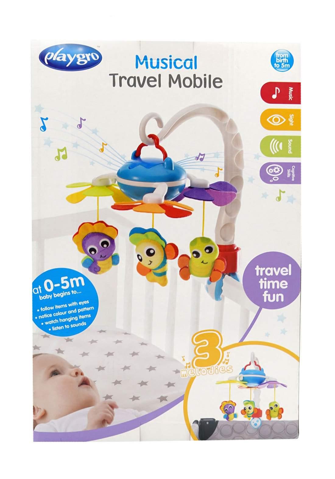 Playgro( 0-5m) Musical Garden Travel Mobile 3 Melodies لعبة أطفال معلقة